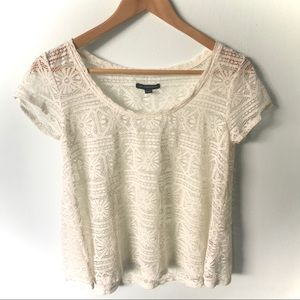 American Eagle Outfitters Lace Top White Small